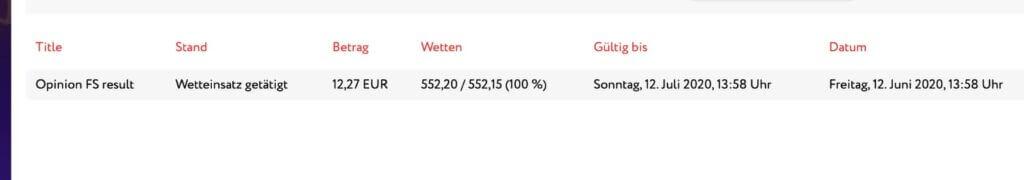 No Deposit Bonus Umsatz Screenshot Umsatz